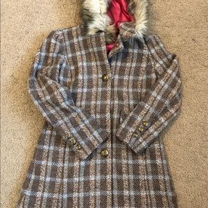 Juicy Couture Tweed Coat with Fur Lined Hood